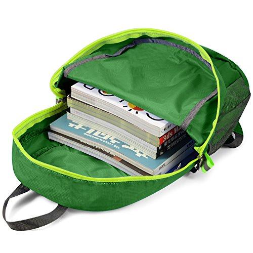 Gonex® - Zaino sportivo, ultra leggero, impermeabile, pieghevole e comprimibile, per camping, escursionismo e fitness verde scuro
