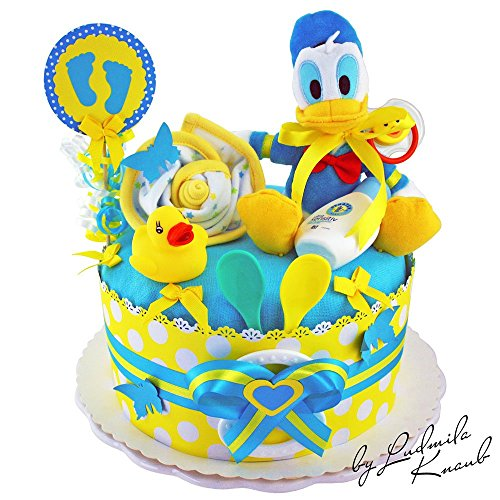 Preisvergleich Produktbild Windeltorte / Pamperstorte >> Donald Duck, Babygeschenk für Jungen in schönem 2-Farbigenton (Blau/Gelb) // Geschenk zur Geburt, Taufe, Babyparty // originelles und praktisches Geschenk für Babys