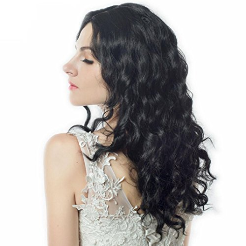 Longra Femmes Longueur moyenne Vague Corps Noir Naturel Basse température Synthétique Perruques Cheveux haute qualité Perruque Cheveux ondulés Extensions de cheveux Chaleur résistant (Noir)
