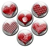 Kühlschrankmagnete Herz Magnete für Magnettafel stark 6er Set mit Motiv Herzen Vintage groß rund 50mm Rot