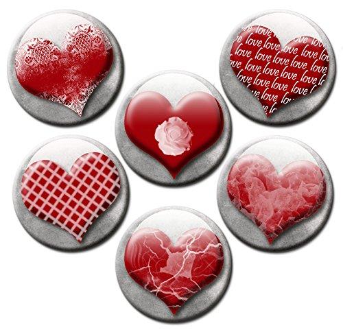 Kühlschrankmagnete Herz Magnete für Magnettafel stark 6er Set mit Motiv Herzen Vintage groß rund 50mm Rot (Magnetwand Blech)