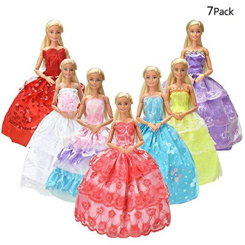 7er Pack Kleider & Kleidung für Barbie-puppe Handmade Modisch Hochzeit Party Abendkleid Kleider & Kleidung (Weihnachten Kleidung Disney)