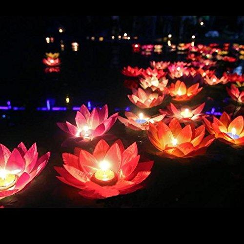 Pegasus Seide Lotus Blume Wunsch Lampe Schwimmende Wasser Kerze Licht Geburtstag Hochzeit Party Dekor (Schwimmende Lotus Kerzen)