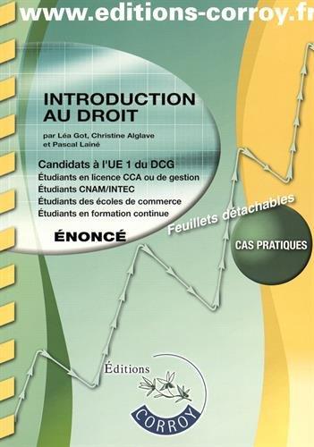 Introduction au droit UE 1 du DCG : Enoncé