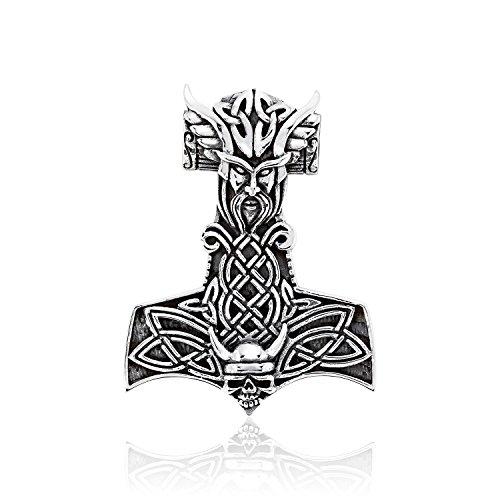 Sistakno - Colgante de plata de ley 925 con diseño de calavera de guerrero y amuleto Mjölnir