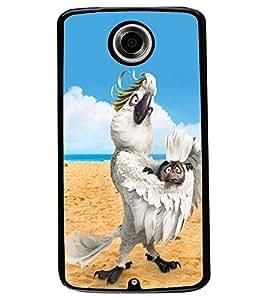 ColourCraft Funny Parrot Design Back Case Cover for MOTOROLA GOOGLE NEXUS 6