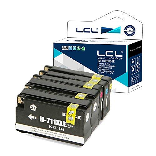 LCL Cartucho de Tinta Compatible 711XL 711 XL Pigment (2Negro 1Cian 1Magenta 1Amarillo) Reemplazo para HP Designjet T120 24 T120 610 T520 24 T520 36 T520 610