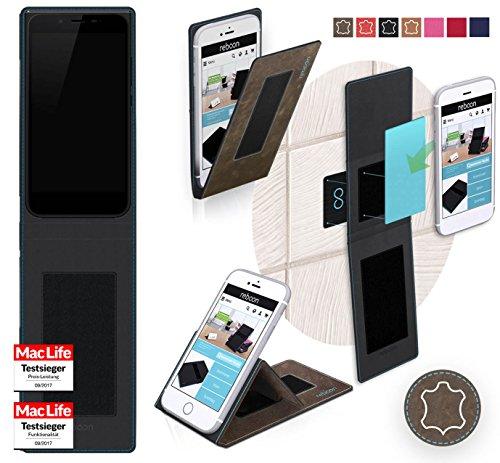 reboon Hülle für Obi Worldphone MV1 Tasche Cover Case Bumper   Braun Wildleder   Testsieger