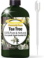 Aceite esencial de árbol de té-gran 4oz/cuentagotas-100% puro grado Terapéutico-Aceite de Árbol de Té es ideal para aromaterapia, acné, alimentación, Sinus de pelo y alergias, repelente de mosquitos y más.