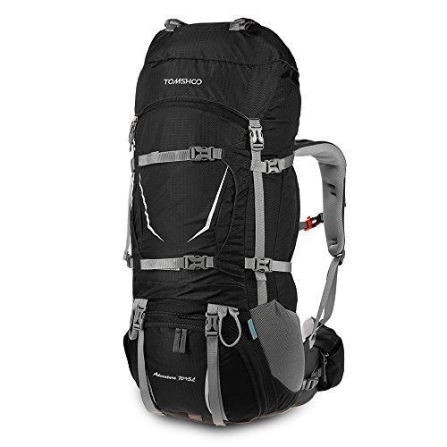 TOMSHOO 70+5L Mochila Senderismo Con cubierta de lluvia Impermeable Bolsa de Trekking para Escalada Camping Viajes Montañismo