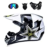 Adult Motocross Helmet MX Motorcycle Helm ATV Scooter ATV Helm D.O.T Certified Rockstar Multicolor With Goggles Gloves Mask (S, M, L, XL),S