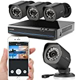 Zmodo CCTV 4 Channel 720P HD HDMI NVR Security Camera Surveillance System with 4*Outdoor Bullet Camera, NO Hard Drive, Black
