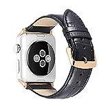 für Apple Uhrenarmband 38mm 42mm iStrap echtes Leder Ersatz Handgelenk Band Silber Faltschließe Spring Bar Adapter Armband für Apple Watch Sport Edition Serie 1 & 2 & 3-Brown