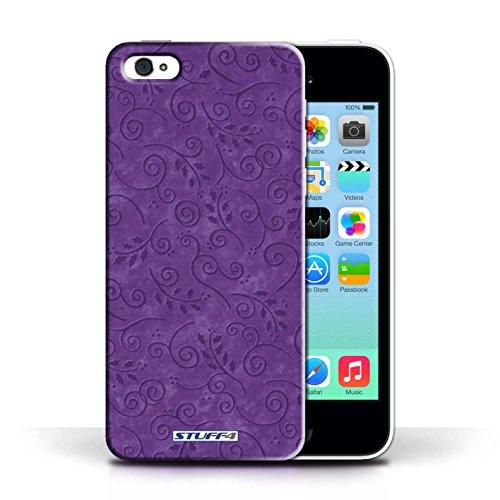 iCHOOSE Print Motif Coque de protection Case / Plastique manchon de telephone Coque pour Apple iPhone 5C / Collection Motif Feuille Remous / Bleu Pourpre