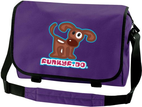 51 %2BSK4ummL BEST BUY UK #1Funky Fido Girls Cute Brown and White Staffie Dog A4 School or College Messenger Bag Purple with Black trim, internal organiser section with 2 zip pockets, key fob, pencil pockets, long adjustable padded shoulder strap, zip closing main compartment. size 41x31x12 cms price Reviews uk