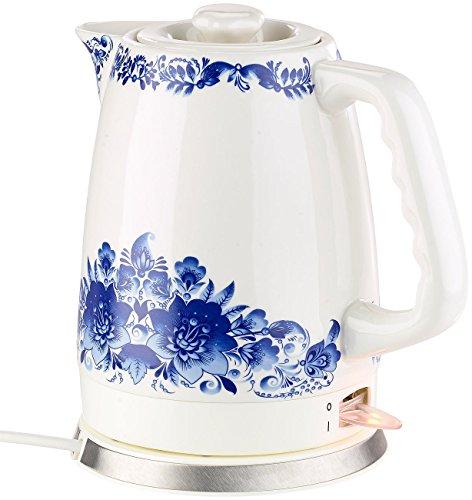Rosenstein & Söhne Wasserkocher Porzellan: Keramik-Wasserkocher WSK-280.rtr mit blauem Blumen-Motiv, 2 l, 1.500 W (Wasserkocher für Teatimes)