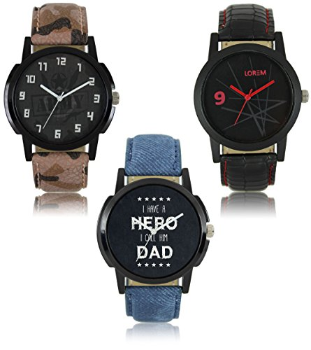 Ak Combo Of 3 Analogue Multicolor Dial Men's Watch-Lr-03-07-08