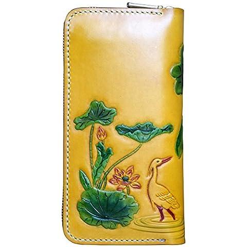 OLG.YAT® Pflanzlich gegerbtes Leder Geldbörse Portemonnaie Börse Brieftasche Handgefertigt Retro 20.5*10.5*4cm OLG-WL22