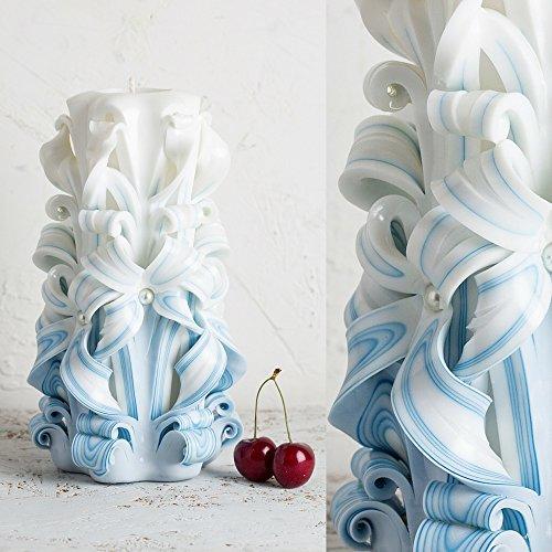 Hochzeits-Kerze für Bräutigam - Big White und Blue - Gentle Farben - (Handwerk Halloween Hausgemachte Ideen)