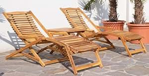 ASS Relax Lot de 2chaises longues avec 1table en bois d'acacia (équivalent de teck)