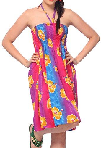 La Leela soft likre alle in 1 Badebekleidung Damen Abschlussball casual Abend Ferien sundress Tunika Halfter tropischen Top Bandeau-Bikini-Vertuschung Lounge Kleid Rockfrauen des kurzen Kleid Blau