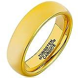 Bishilin Wolframcarbid Ring Herren Hoch Poiert Rund Breite 6MM Verlobungsring Gold Trauringe Hochzeitsring Große 60 (19.1)