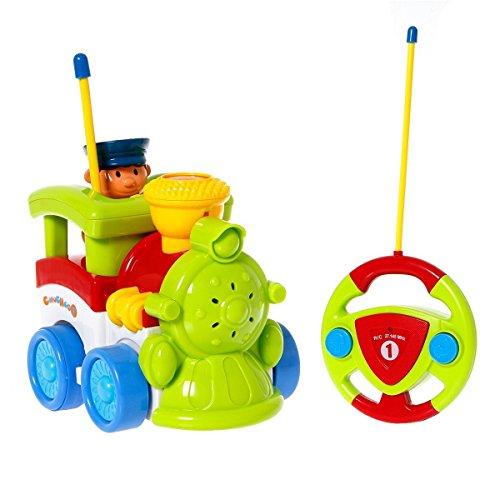 PowerLead Prac C007 Cartoon Coches RC Train Acción Figura Coche Radio Control Coche Trenes Eléctrico Juguete para Niños y Bebés