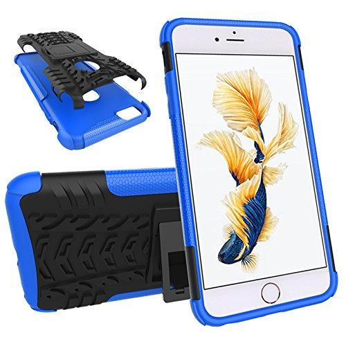 Nadakin Apple iphone 6 Plus / 6S Plus 5.5 inch Hülle Schutzhülle Hybrid Rugged Phone Case Stoßfest Handys Schutz Cover mit eingebautem Kickstand Shockproof für Apple iphone 6 Plus / 6S Plus 5.5 inch ( Blau