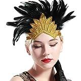 Babeyond Bandeau Cristal Mariage Tiara Bandeau Plume Flapper Headband Gatsby Art des Années 1920 Mariage Cérémonies Accessoires de Cheveux Bandeaux avec Plume