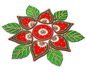 KRIWIN® 10 to 11 inches Dia -Floor/Wall /Table Rangoli Decorative Showpiece (Acrylic) (Leaf)