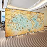 Mkkwp Des Europäischen Bürosofa-Hintergrundes Des Tapetenqualitätsblitzsilberstoffes Retro- Hd-Weltsegelnkarte Große Wandtapete-200cmx140cm