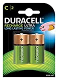 Duracell Recharge Ultra C, Batterie Mezza-Torcia Ricaricabili 3000 mAh, Confezione da 2