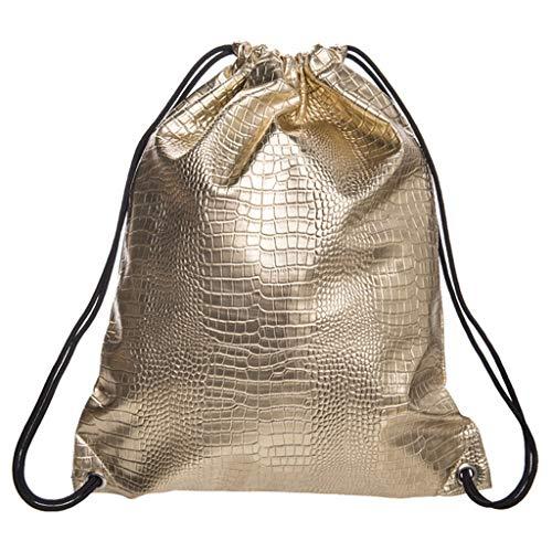 Schultasche Herren Rucksack Damen Elegant Rucksackhandtaschen Mode Jugend Student Im Freien Reise Backpack Anti Diebstahl Taschen Qmber Lässige Mode glänzend einfarbig Rucksack Balkentasche,Gold -