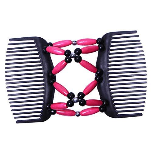 Baoblaze Elastische und doppelte Haarspange Haarkamm Schmuck Haarklammer Haarspange Holzperlen Clip Hochsteckfrisur DIY Hair Styling Werkzeug - Rosa