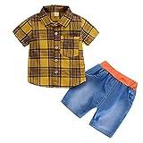 Infant Baby Girl Gentleman Plaid Shirt Print Solid Denim Shorts 2PC Set Outfits