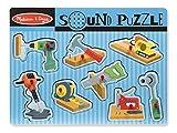 Melissa & Doug 10733 Puzzle Sonoro con Utensili da Costruzione in Legno con Pioli, 8 Pezzi