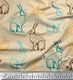 Soimoi Orange Seide Stoff Hase Tier gedruckt Craft Fabric 1