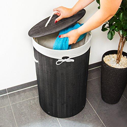 Relaxdays Runder Bambus Wäschekorb - 3