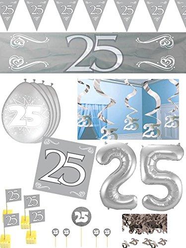 zeit 25 Jahre Jubiläum Party Deko Set 93-tlg. Silber Hochzeit ()