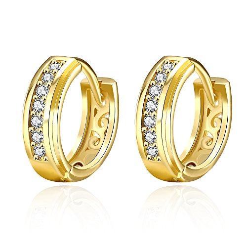 Zolkamery Gold Creolen für Damen Rund Kreolen Ohrringe Durchmesser 15mm mit Weiß AAAAA Zirkonia Allergenfrei Party Alltag Ohrschmuck für Damen Mädchen Passt T-Shirt