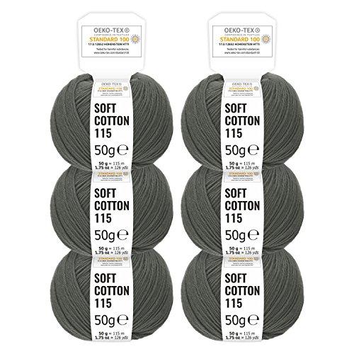 100% Baumwolle in Uni 14 Farben - 300g Set (6 x 50g) - Oeko-Tex 100 zertifizierte Wolle zum Stricken & Häkeln by Hansa-Farm - Dunkelgrau -