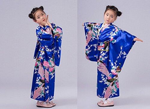 Smile YKK Kind Mädchen Geblümt Pfau Bilder Kimono Uniform Kleid Maxirock Party Kleid Blau