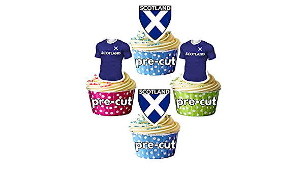 Six 6 nations Rugby Precut COMESTIBLES CUP Cake Toppers Décoration Scotland//ITALIE