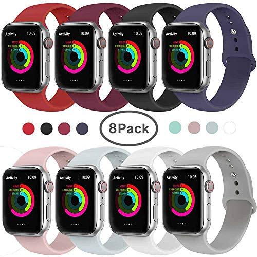 Serie 2 Ersatz (Tervoka Ersatz Armbänder für Apple Watch Armband 44mm 42mm, Weiche Silikon Ersatz Armbänder für iWatch Armband Series 4/3/2/1, S/M, 8Pack)