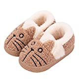 Zapatillas de Estar por Casa para Niñas Niños Invierno Zapatillas Interior Casa Caliente Pantuflas Suave Algodón Calentar Zapatilla Mujer Hombres Marrón2 34-35 EU (Fabricante: 24)