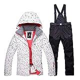 ishine Schneeanzug Damen Skianzug 2tlg Skijacke mit Kapuze+Skihose Regenjacke Outdoorjacke Damen Hardshell Jacke Wasserdicht atmungsaktiv Funktionsjacke