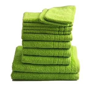 "12 tlg. Handtuchset ""Selmin"" 2x Duschtücher 70x140 cm, 4x Handtücher 50x100 cm, 4x Gästetücher 30x50 cm, 2x Waschhandschuhe 16x21 cm in Apfelgrün, 100% Baumwolle 600 g/m²"