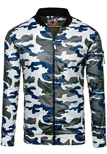 BOLF Herren Übergangsjacke Sweatjacke Sportjacke Army Military Motiv 4D4 Camo Grün