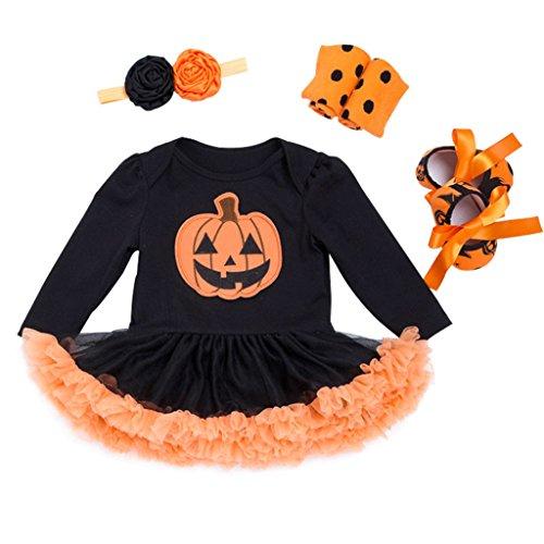 Vine Baby Mädchen Tütü Strampler Langarm + Stirnband + Beinwärmer + Schuhe 4pcs Bekleidungsset Halloween Kostüm Kürbis Outfits