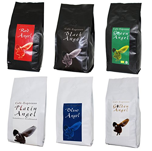 Kaffee Espresso Angel 6 x 1000 g + Probierpaket gratis! Die beliebte Kaffee-Serie - ALLE SECHSE!...